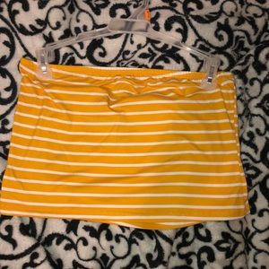 Brand new yellow stripped tube top.